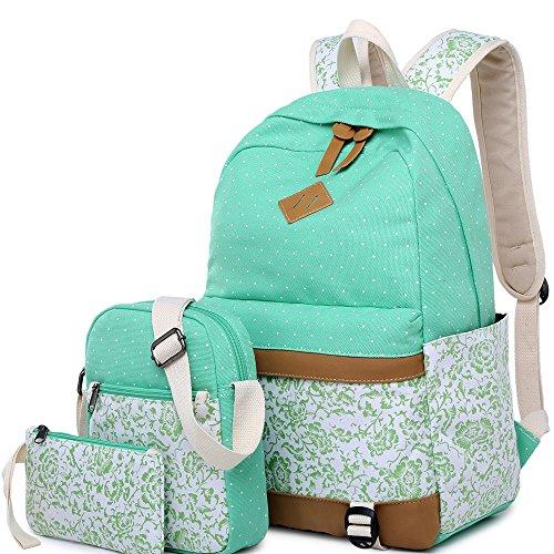 BLUBOON Backpack Canvas Bookbags Floral D 3pcs