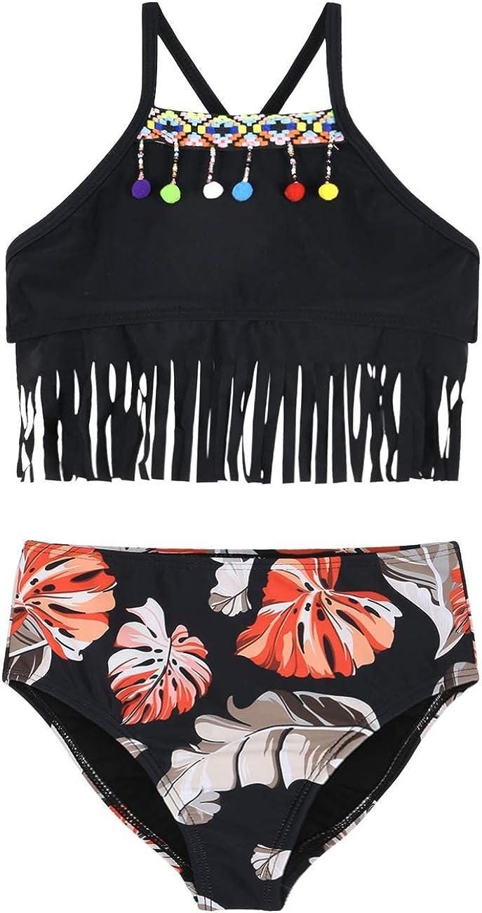 Hilor Girls Bikini Set Crop Flounce Two Piece Swimsuits Kids Haler Bathing Suits