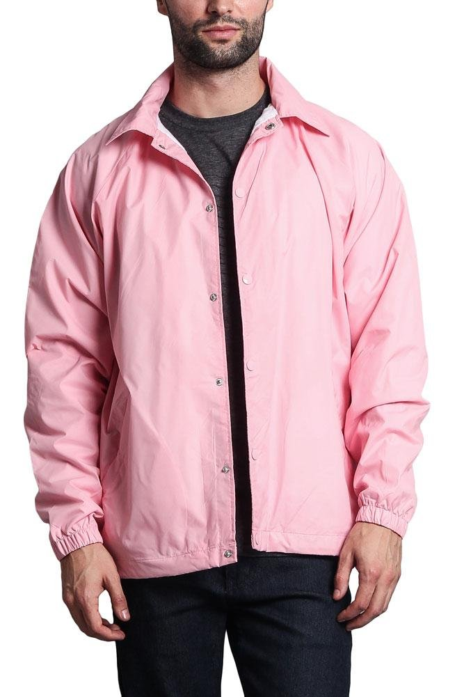 Men's Waterproof Windbreaker Coach Jacket VOS - Pink/White - 3X-Large by G-Style USA