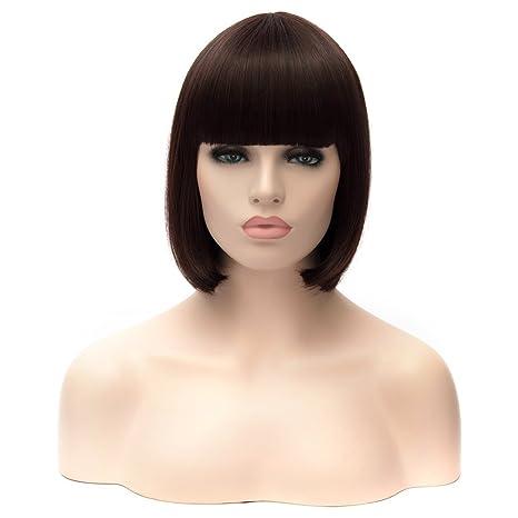 CLOCOLOR 11.8 30CM Peluca de Pelo Natural Corto Recto para Mujer Peluca Corta Bob