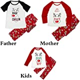 Tloowy Xmas Hot Sale! Christmas Matching Family Pajamas Set Cartoon Deer Print Women Men Kids Sleepwear
