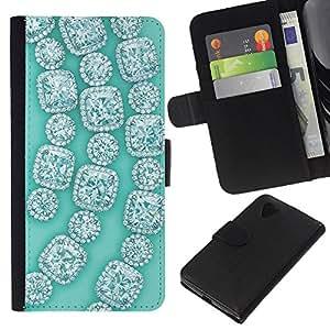 For LG Nexus 5 D820 D821 Case , Gemstones Gems Green Bling - la tarjeta de Crédito Slots PU Funda de cuero Monedero caso cubierta de piel