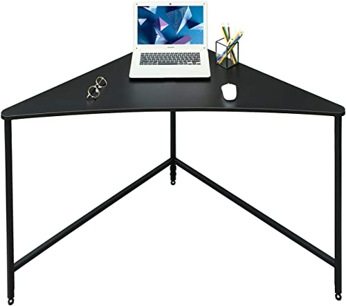 Saygoer Corner Computer Desk Home Office Workstation Triangle PC Laptop Gaming Table Industrial Study Writing Desk