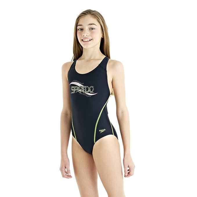 "11575eb4fff Speedo Spiralize Splashback Girls Swimsuit, Size- 24"", Color- Navy"