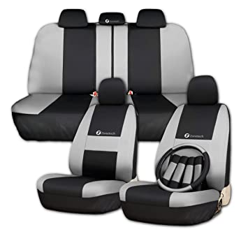 Zone Tech Set Of Gray And Black Car Interior Covers