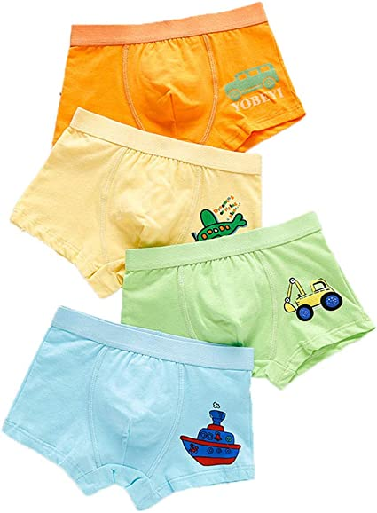 Fandecie Boys Boxer Shorts 4 Pack Cotton Boys Underpants Underwear Toddler Boxer Briefs Shorts for Kids Trucks 1-10 Years