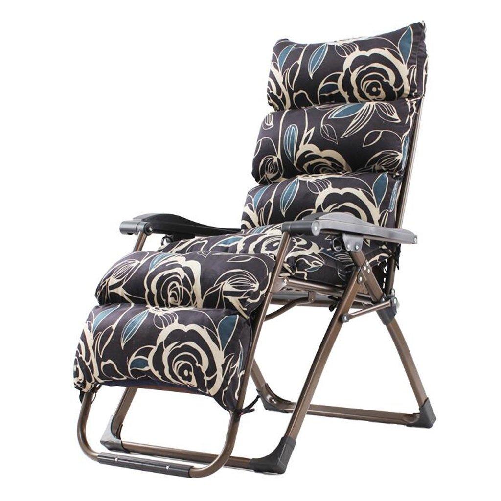 Xuan - Worth Having Schwarzer Hintergrund Beige Blumenmuster Klappstuhl Mittagspause Liegestuhl Schlafsessel Freizeit Faul Sofa Stühle Für ältere Menschen