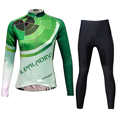 ILPALADINO Women s Cycling Jersey Clothing Set Long Sleeve Pant Green  Breathable ... bdc353a32