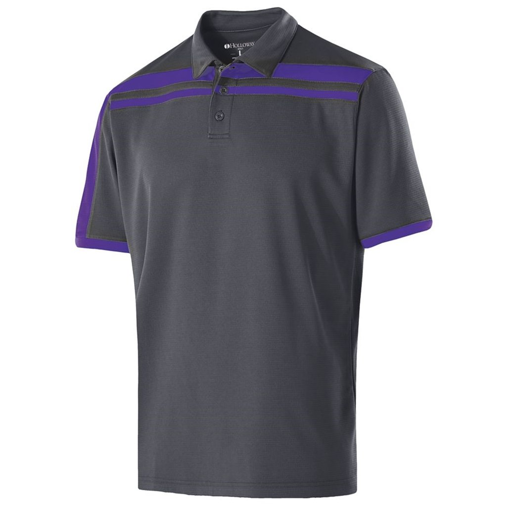 Holloway Dry-Excel Mens Charge Polo (Small, Carbon/Purple) by Holloway
