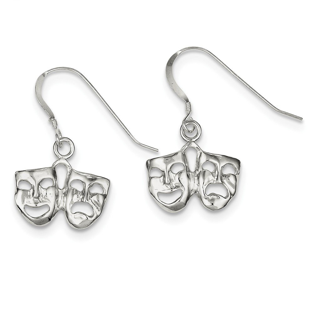 Solid .925 Sterling Silver Comedy//tragedy Earrings 26x17mm