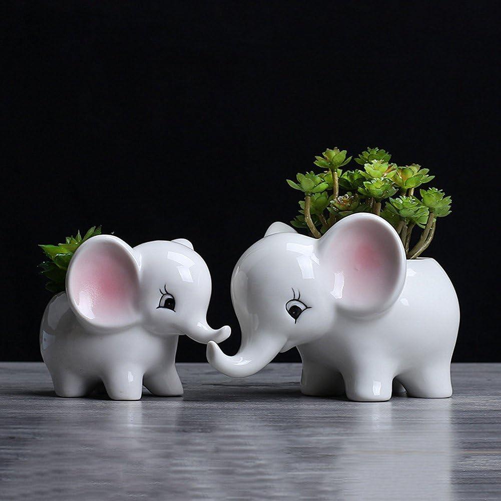 WOVELOT Forme des Animaux Pot de Fleur en ceramique Elephant Succulent Planteur Cactus Succulent Plantes Fleur Pot Blanc Mignon Pot de Fleur Petit