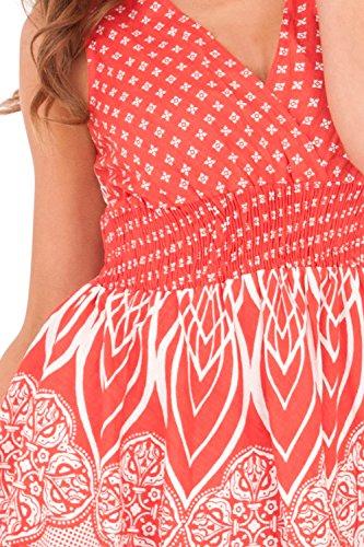corto Vestito Floral Cross Da con Red Donna floreale Pistachio rouches HFSqxF