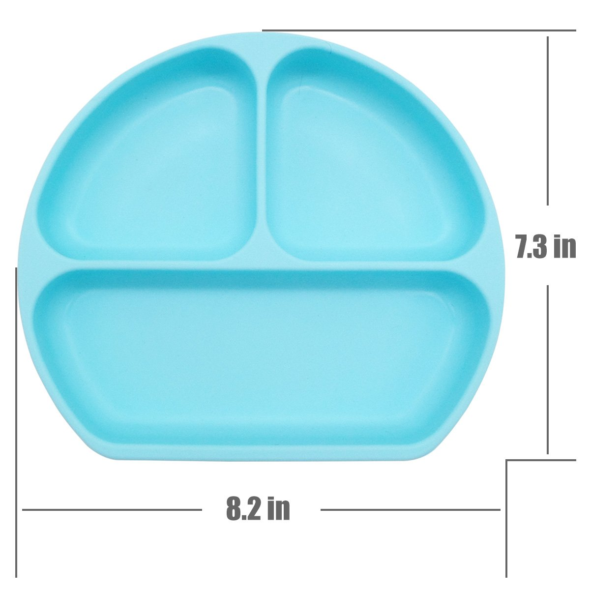 KIDAC Silicone Divided Toddler Anti-skid Suction Plates Dishes Feeding Bowls for Babies Kids (Aqua Blue)