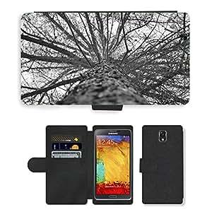 PU LEATHER case coque housse smartphone Flip bag Cover protection // M00152459 Árbol gris que mira para arriba de alta // Samsung Galaxy Note 3 III N9000 N9002 N9005