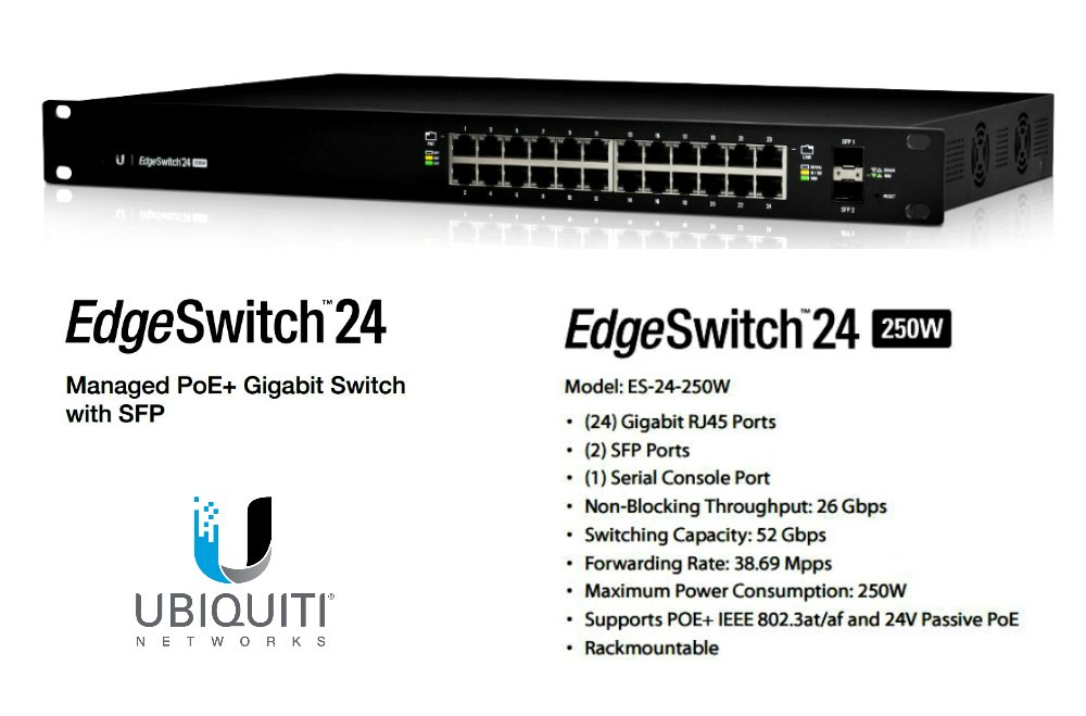 Ubiquiti Edgeswitch Es. 24. 500W Layer 3 Switch . 24 Ports . Manageable . 24 X Poe+ . 2 X Expansion Slots . 10/100/1000Base. T, 1000Base. X . Rack. Mountable ''Product Type: Routing/Switching Devices/Switches & Bridges''