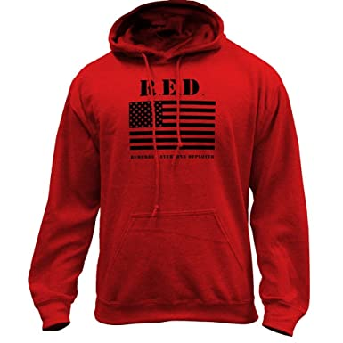 Amazon.com  Remember Everyone Deployed RED - Flag Military Pullover ... b272ffdfafe