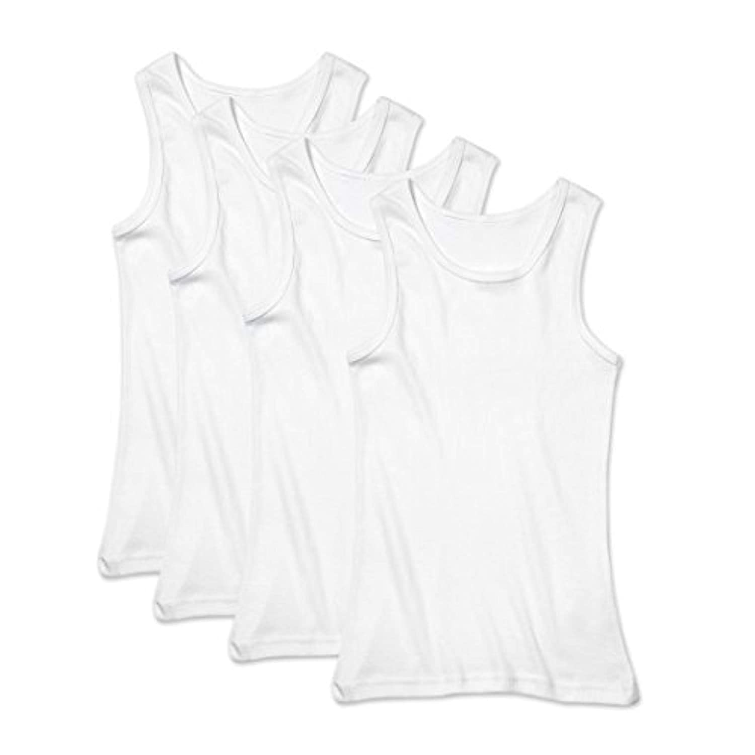 Buyless Fashion Boys Soft 100% Cotton White Scoop Neck Undershirt (4 Pack) 13-14 TW14-BW-13-14