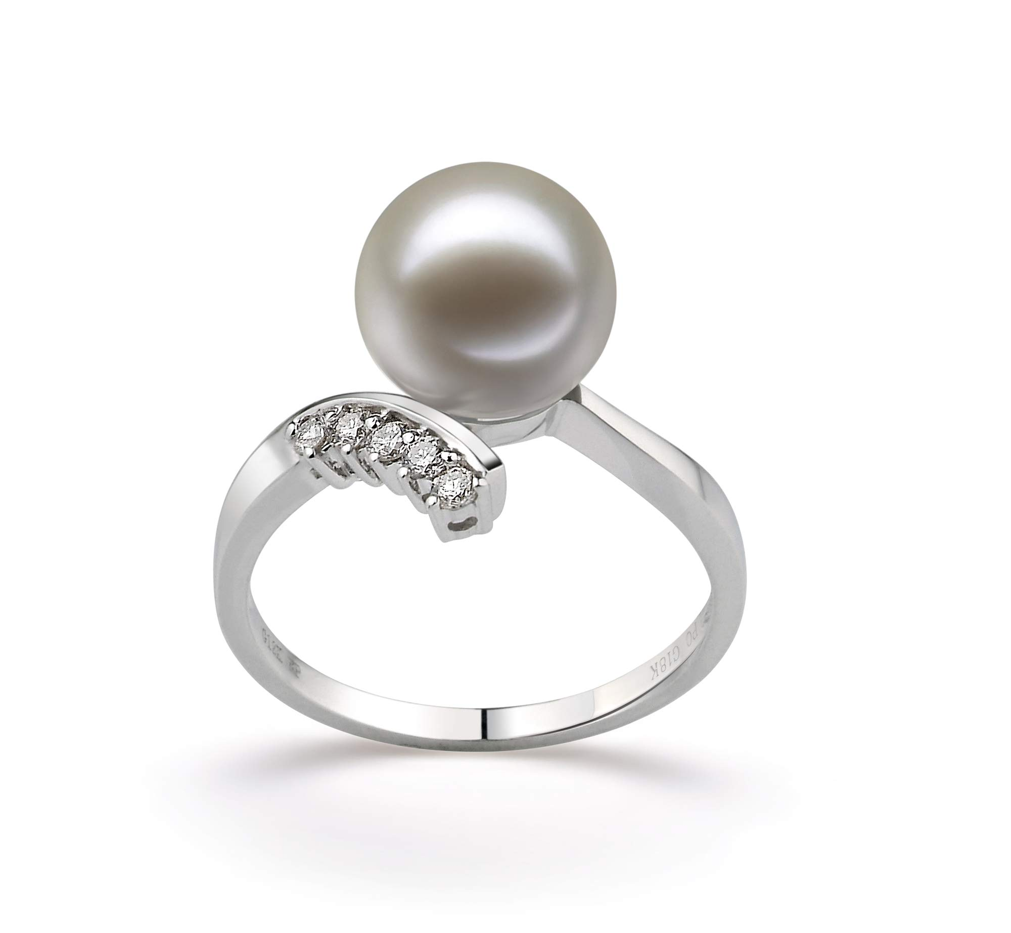 Grace White 9-10mm AAAA Quality Freshwater 14K White Gold Cultured Pearl Ring For Women - Size-7