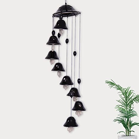 ExclusiveLane Melodious Sound Home Decorative Wind Chimes Cum Outdoor Garden Hanging with 8 Bells in Blue (Black, Ceramic)