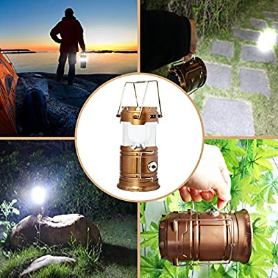 Updated Camping Lantern, Solar Rechargeable LED Camp Light & Handheld Flashlight in the Bottom for Hiking, Camping, Fishing, Hurricanes, Outages, Emergency Charging for Mobilephone