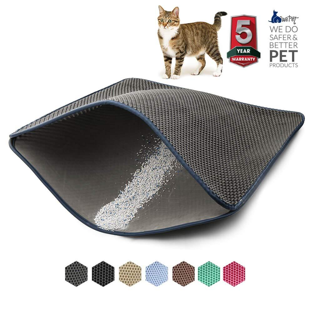 WePet Cat Litter Mat, Kitty Litter Trapping Mat, 35 x 23'' XL Jumbo, Premium Honeycomb Double Layer Design, No Phthalate, Urine Water Proof, Easy Clean, Scatter Litter Catcher, Kitten Litter Box Carpet