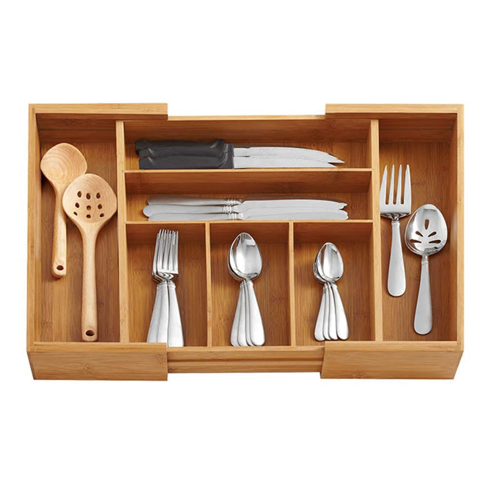 SHOW-WF Bamboo Cutlery Tray,5-7 Compartment Utensil Holder for Kitchen Drawer. Large Extendable Organiser. Extends Up to 55 x 46 x 6.5 cm