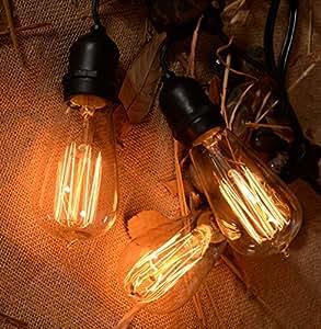 vintage elegan style outdoor commercial patio string lights with 15 nostalgic edison bulbs 48. Black Bedroom Furniture Sets. Home Design Ideas