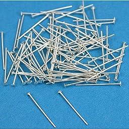 100 Sterling Silver Headpins Head Pins 26 ga. 1/2 Inch
