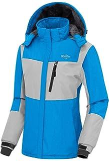 Wantdo Women s Waterproof Fleece Parka Windproof Ski Jacket Hooded Winter  Raincoat Mountaineering Windbreaker fd07d26d4
