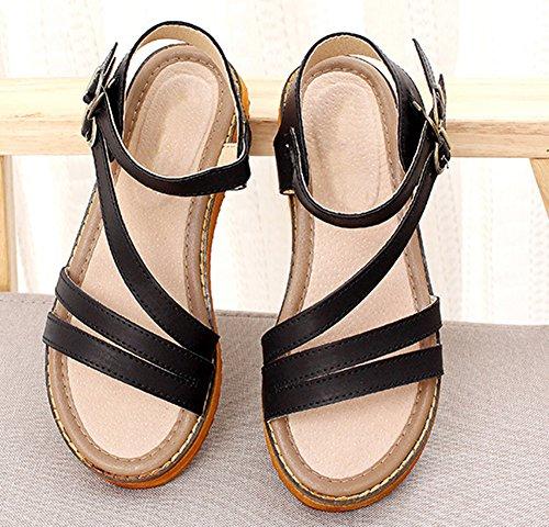 Bout Ouvert Talon Lanières Femme Mode Aisun Sandales Plat Noir qxBRH6nw