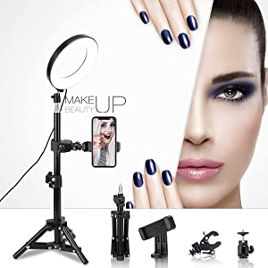 """LED Ring Light 6"""" with Tripod Stand for Live Streaming,YouTube Video and Makeup, Mini LED Camera Light with Cell Phone Holder Desktop LED Lamp with 3 Light Modes & 11 Brightness Level"""