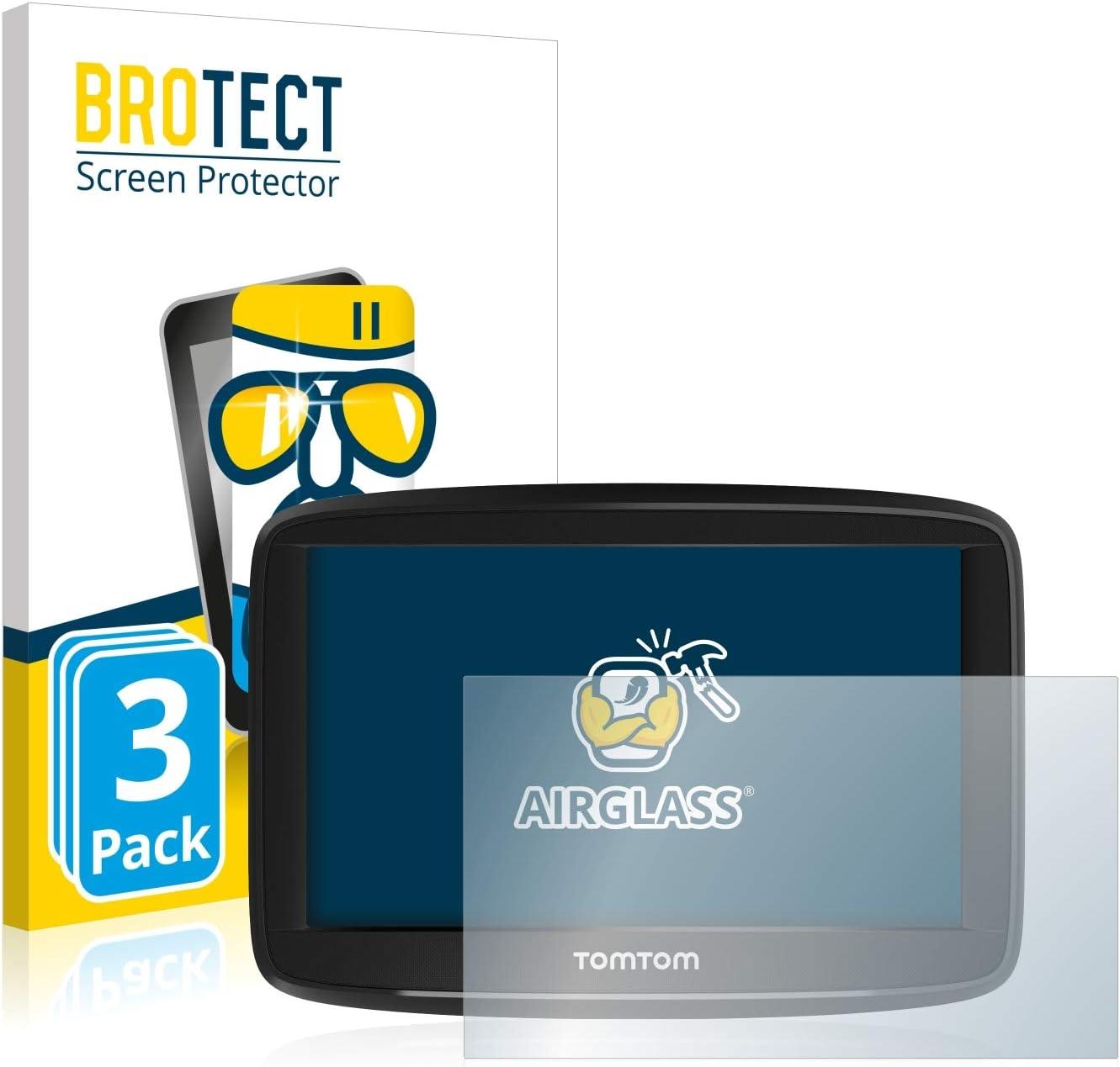 3 Unidades BROTECT Protector Pantalla Cristal Compatible con Tomtom Start 52 Protector Pantalla Vidrio Dureza 9H AirGlass
