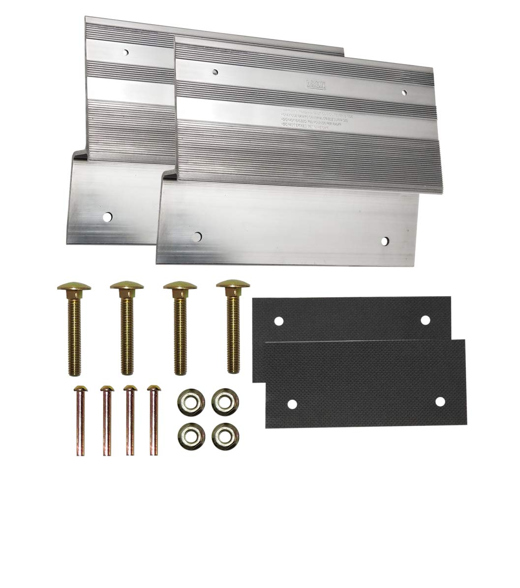 bROK 12'' Aluminum Ramp Kit for 2'' x 12'' Planks with Full Width scratchproof Pads. Create Universal Wood Plank ramps to Load and unload Lawn Tractors, ATVs, dolleys, and wheelbarrows