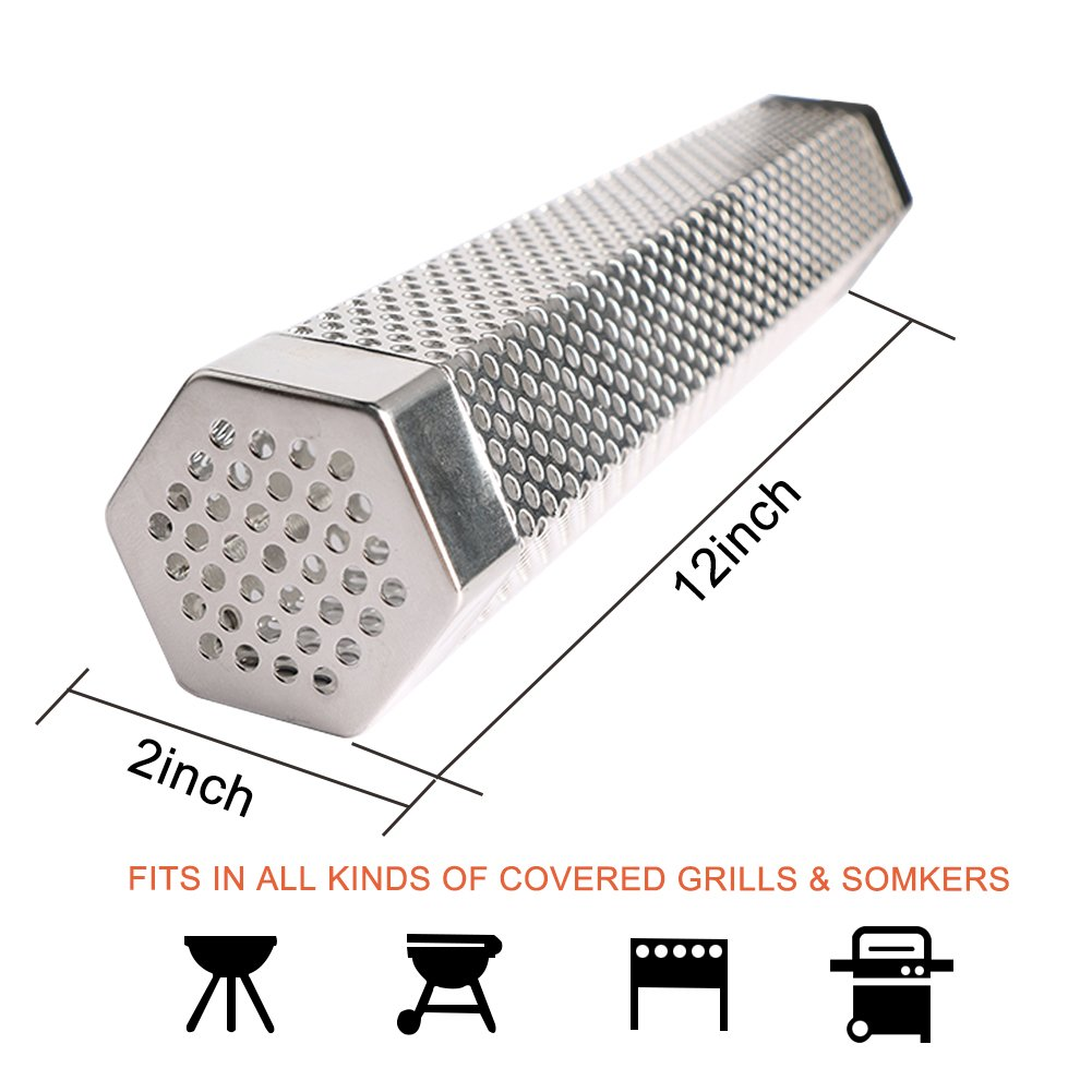 URlighting Pellet Smoker Tube - 12'' Stainless Steel Smoker Pipe BBQ Pellets Grill With Brush and S-hooks for Cold & Hot Smoking, Suitable for Any Grill and Smoker (Hexagon) by URlighting (Image #2)