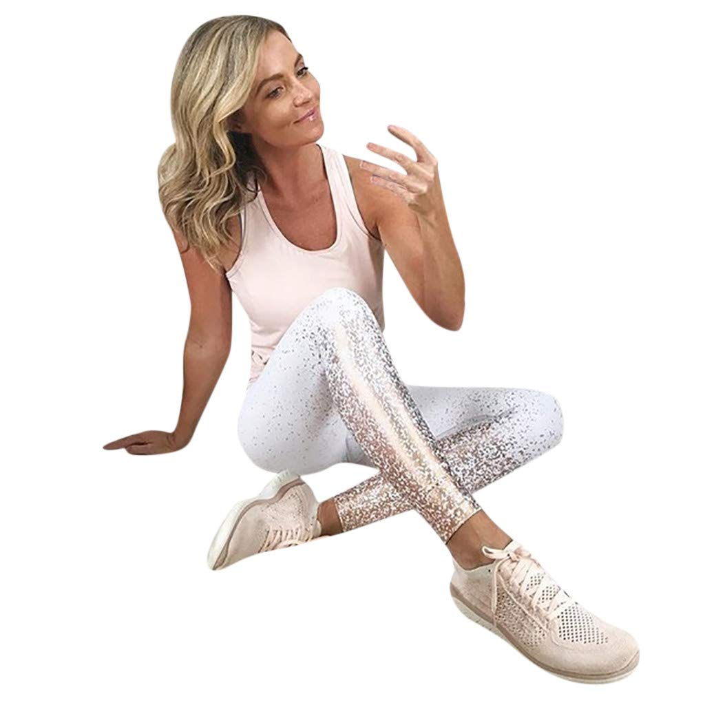 GREFER Women's Fashion Workout Leggings Fitness Sports Gym Running Yoga Athletic Pants