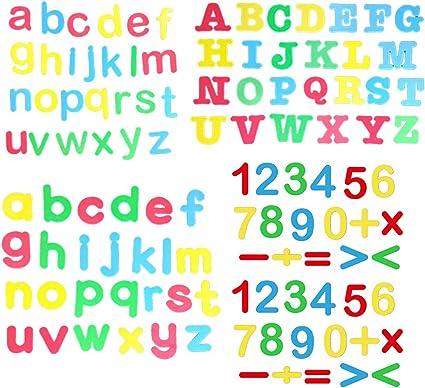 82 piezas de letras y números magnéticos de espuma con caja de ...