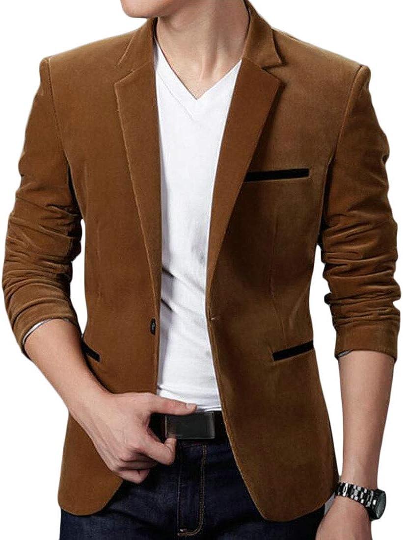 WSPLYSPJY Mens Blazer Jacket Corduroy Sport Formal Dinner Notch Lapel Coat