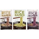 Lotus Foods Gluten Free Rice Ramen & Broth 3 Flavor 6 Bag Variety Bundle: (2) Buckwheat Mushroom Rice Ramen, (2) Wakame & Brown Rice Ramen, and (2) Purple Potato & Brown Rice Ramen, 2.8 Oz Ea (6 Tot)