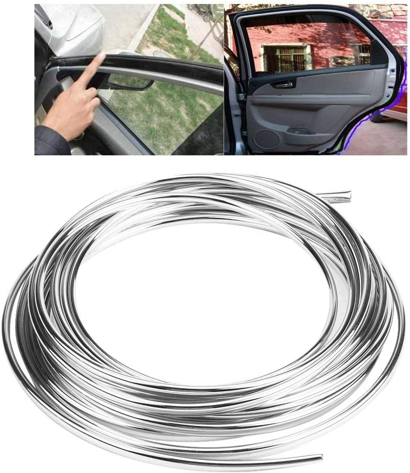 Silver Door Edge Moulding Trim Strip Anti-scratch 6M 19.7 FT U-shape Seal Trim Guard Protector Cover Mold for Car SUV Vehicles