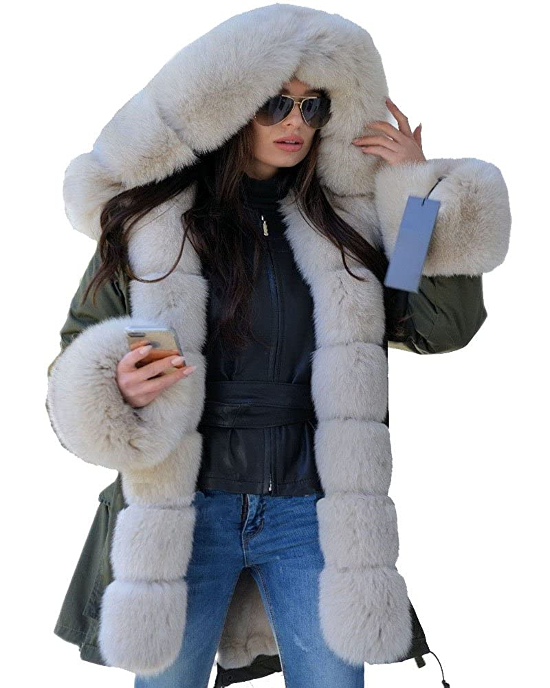 Roiii Women Thicken Warm Winter Coat Hood Parka Overcoat Long Jacket Outwear B238