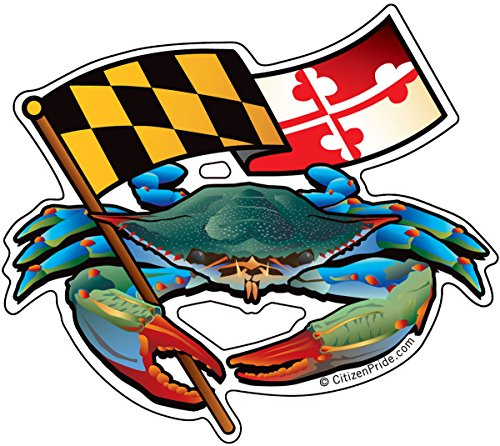 Citizen Pride Blue Crab Maryland flag 5x4.5 inches sticker decal die cut vinyl - Made in USA ()