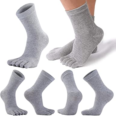 REKYO 6 Pares De Calcetines Con Punta De Algodón Para Hombre Calcetines Con Cinco Dedos Para Hombres Otoño E Invierno, Suave Y Cómodo (Gris): Amazon.es: Ropa y accesorios