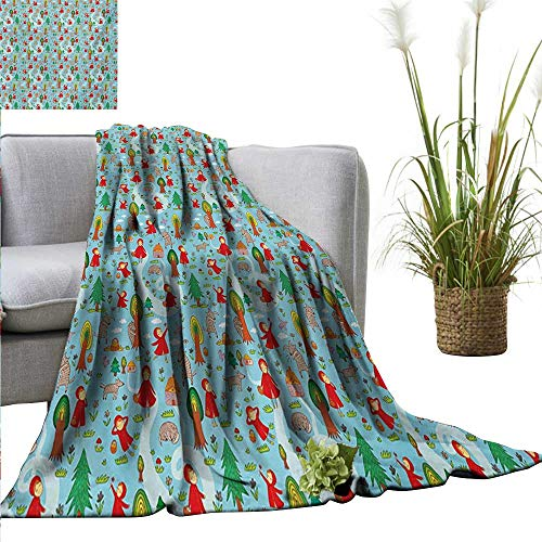 (AndyTours Weighted Blanket for Kids Fantasy,Red Riding Hood Tale Themed Illustration with House and Big Bad Wold in The Forest,Multicolor Weighted Blanket for Adults Kids Better Deeper Sleep)