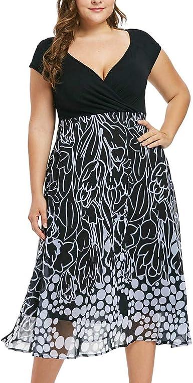 Overdose Soldes Robe Grande Taille Femme Ete Sexy Robe De Soiree Cocktail Imprime Pois Chic Pas Cher Manches Courtes Dress Mode Col V Robes Taille Xl 5xl Amazon Fr Vetements Et Accessoires