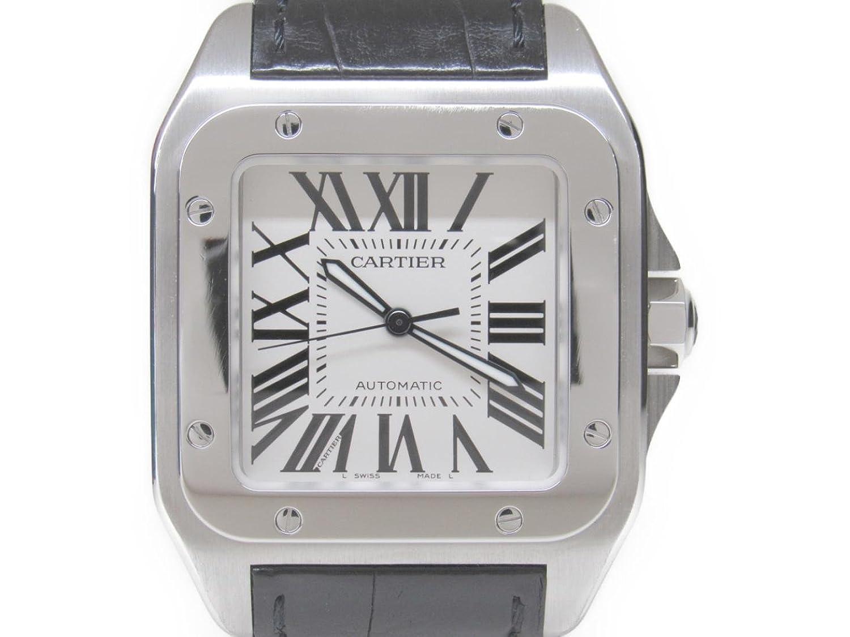 [カルティエ] Cartier サントス 100LM 腕時計 ウォッチ ブラック ステンレススチール(SS) x レザーベルト W20073X8 [中古] B017I507R0