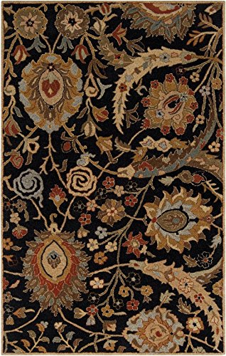 A154 Ancient Treasures (Surya Ancient Treasures 5' x 8' Hand Tufted Wool Rug in Black)