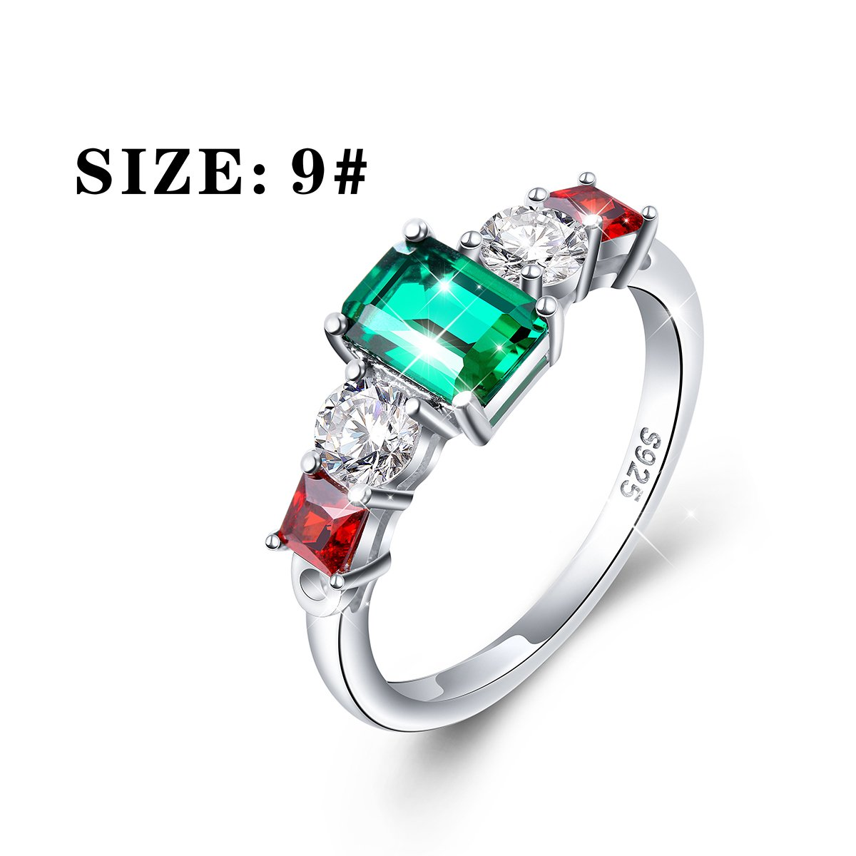 Vintage Elegant Jewelry 925 Sterling Silver Green and Red Cz Ring for Mom Size 9 by SILVER MOUNTAIN (Image #5)