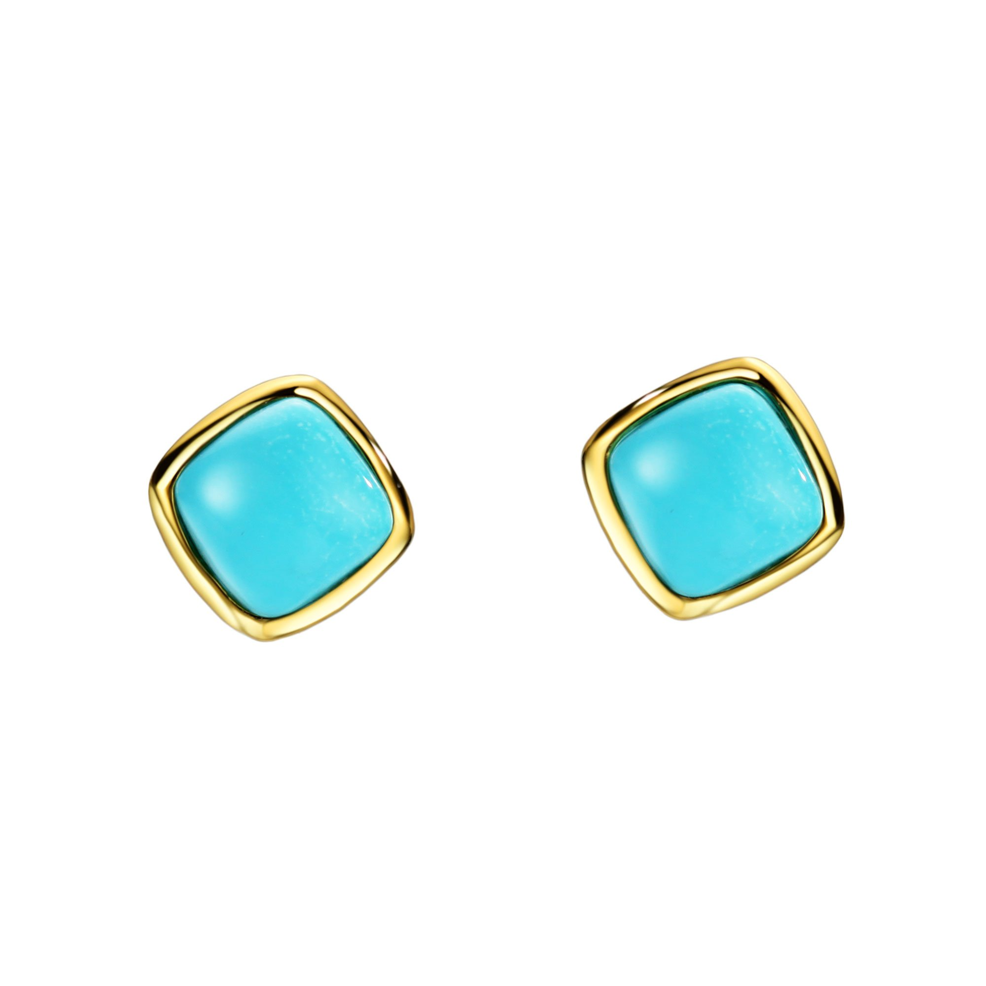 Sterling Silver Natural Turquoise Earrings Stud 18K gold plated Cushion Cut Gemstone Women Fine Jewelry