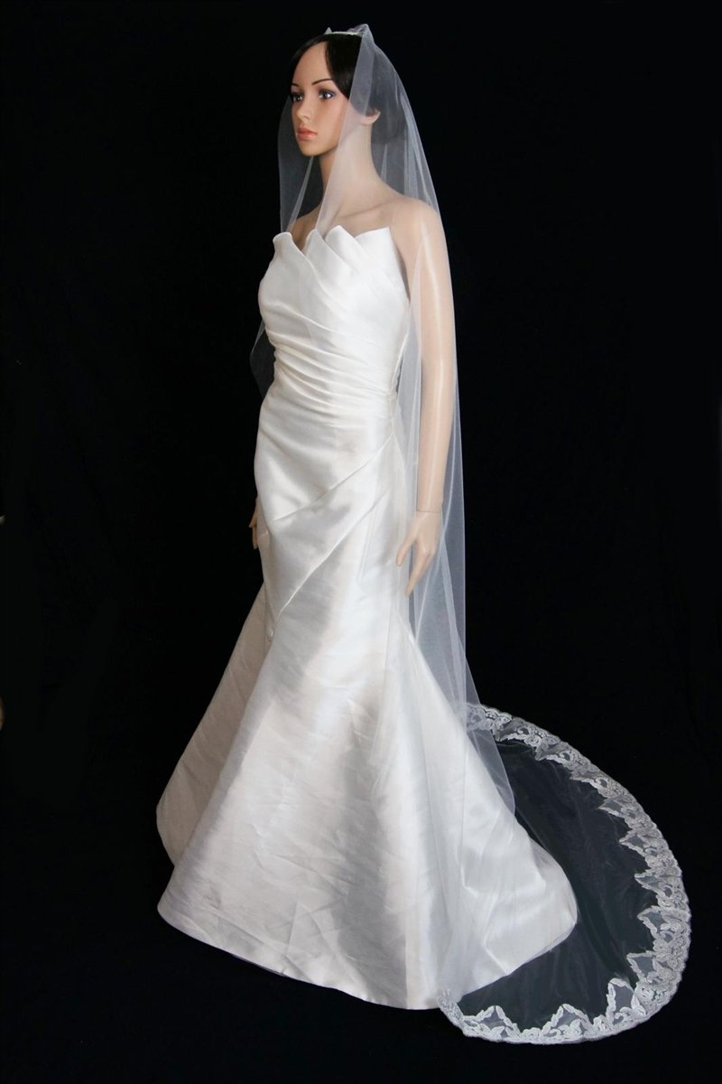 Bridal Wedding Mantilla Veil Ivory 1 Tier Long Cathedral Length With Lace Edge by Velvet Bridal (Image #3)