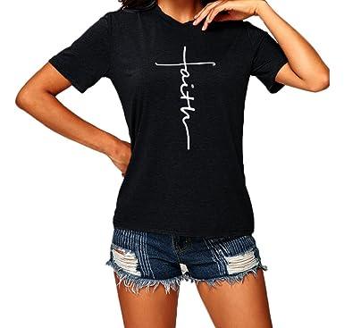 e6d0c4c37c73dd Fashion Women Round Neck Cross Faith Letter Print T Shirt Christian Graphic  Hoodie Sweatshirts (Black